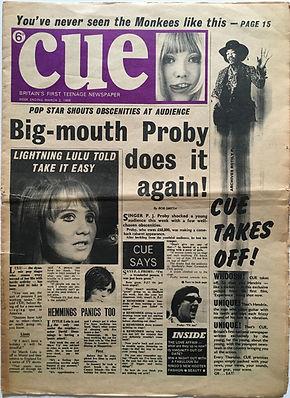 jimi hendrix newspaper/cue 2/3/1968