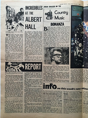 jimi hendrix newspaper 1968/record mirror november 9 1968