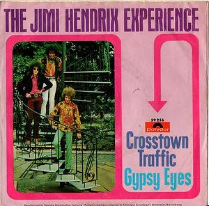 jimi hendrix collector vinyls singles 45t/crosstown traffic/gypsy eyes polydor germany 1968