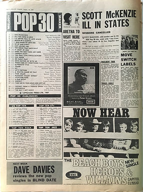 jimi hendrix collector newspaper/melody maker top teen lps 19/8/67