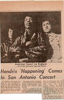 jimi  hendrix newspaper/february 1968 hendrix happening comes in san antonio concert