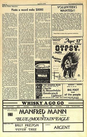 jimi hendrix newspapers 1970 / los angeles free press april 10-16 ,1970