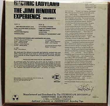 jimi hendrix reel to reel collector/electric ladyland vol1 reprise/bell &  howeel company