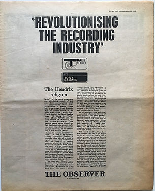 jimi hendrix newspaper 1968/ disc music echo 23/11/68  revolutionising the recording industry track record