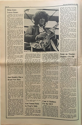 jimi hendrix newspaper 1969/rolling stone july 12  1969: jimi hendrix has a brand new bass