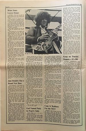 jimi hendrix newspaper 1969/rolling stone july 12  1969: jimi hendrix has a brand new bass