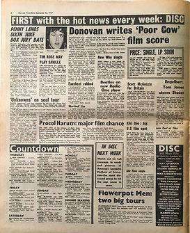 jimi hendrix collector newspapers/countdown/23/9/67 disc music echo