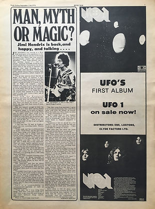 jimi hendrix newspaper 1970 / music now : sept. 12, 1970