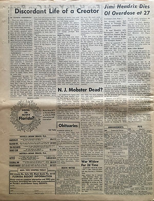 jimi hendrix newspaper 1970 / new york post : september 18, 1970 jimi hendrix dies.....