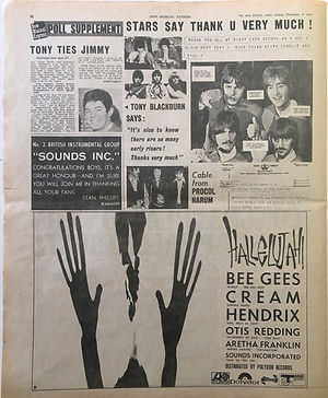 jimi hendrix newspaper/poll supplement 9/12/1967 new musical express