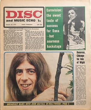 jimi hendrix newspaper 1970 /disc & music echo  march 28, 1970
