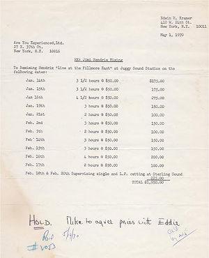 jimi hendrix memorabilia 1970/ billing letter for the recording studio/ letter
