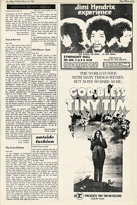 jimi hendrix newspapers 1968/the village voice march 14, 1968