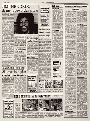 jimi hendrix newspapers 1970 / de tijd   September 19,  1970