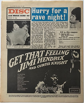 jimi hendrix  newspaper/disc music echo/ad get that feeling 27/1/68