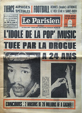 jimi hendrix newspapers 1970 / le parisien sept. 19, 1970