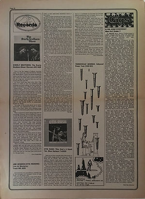 jimi hendrix newspapers 1970 / stange days october 9,1970 / review : jimi & otis