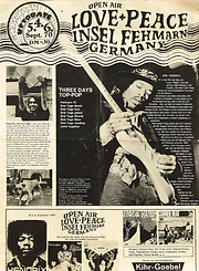 jimi hendrix memorabilia 1970/program isle of fehmarn70