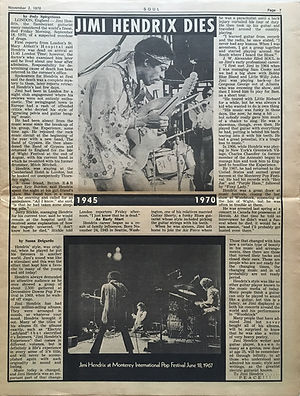 jimi hendrix newspapers 1970 / soul november 2,  1970 / jimi hendrix dies