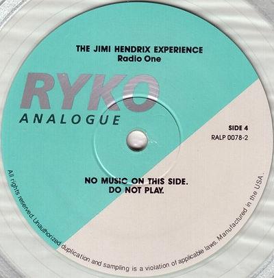 jimi hendrix vinyls album / radio one : side 4 : ryko analogue / vinyls color