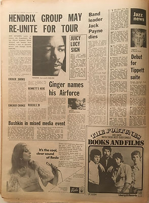 jimi hendrix newspapers 1969/melody maker dec. 13, 1969