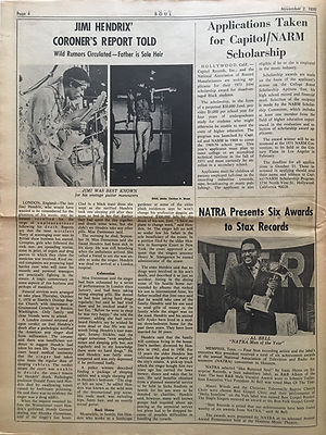 jimi hendrix newspapers 1970 / soul november 2,  1970 / jimi hendrix' coroner's report told