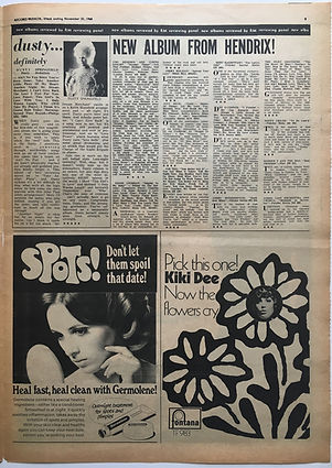 jimi hendrix newspaper 1968/record mirror november 30 1968  new album from hendrix!