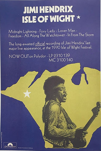 jimi hendrix memorabilia/promo poster isle of wight germany 1971