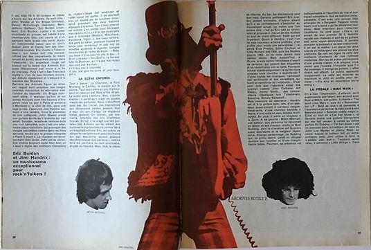 jimi hendrix magazine /rock & folk march 1968/burdon contre hendrix
