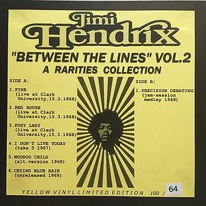 "jimi hendrix bootlegs vinyls 1970 /  jimi hendrix ""between the lines"" vol.2"
