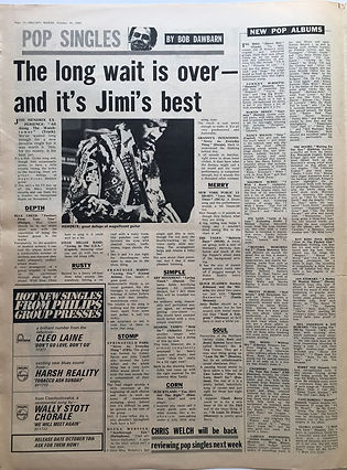jimi hendrix newspaper 1968/melody maker october 19 1968/review : all along the watchtower