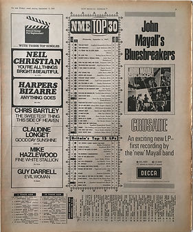 jimi hendrix collector newspapers/new musical ,express 9/9/1967/top 30 the burning of the midnight lamp N°15/are you experienced N°7