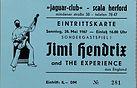 jimi hendrix memorabilia ticket/23/5/1967