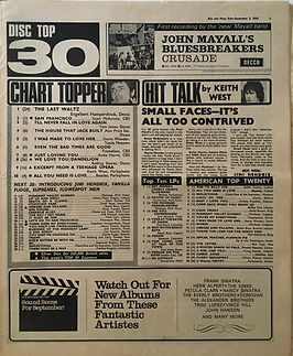jimi hendrix collector newspaper/top 30 disc music echo 2/9/1967/burning of the midnight lamp N°23 First time in disc music echo