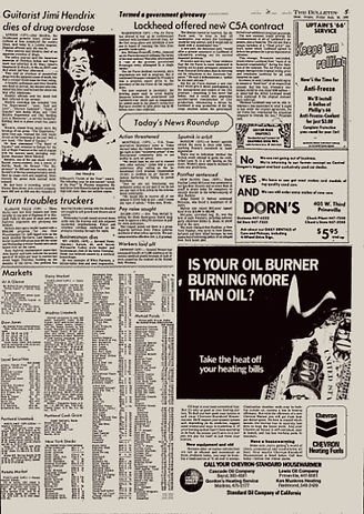 jimi hendrix newspaper 1970 / the bulletin  : september 18, 1970 jimi hendrix dies.....