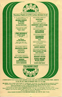 jimi hendrix memorabilia 1969/flyer dec. 1969 fillmore east