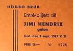 jimi hendrix memorabilia/ticket  9/9/1967