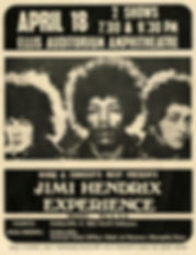 jimi hendrix memorabilia 1969/ handbill april 18 1969 ellis auditorium