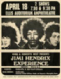 jimi hendrix memorabilia 1969/ handbill april 18 1969 ellis auditorium
