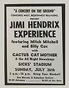 jimi hendrix memorabilia 1970 / ad concert july 26,1970