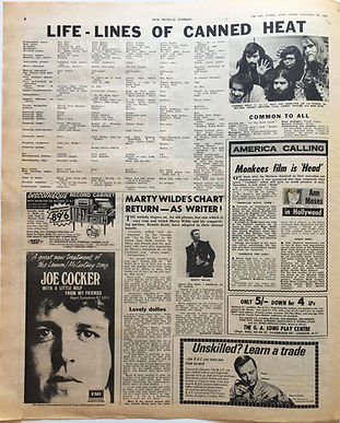 jimi hendrix newspaper/new musical express 28/9/1968