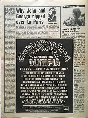 jimi hendrx newspaper/christmas on earth continued olympia kensington 22/12/67