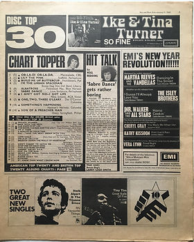 jimi hendrix newspaper 1969/disc & music echo january 11 1969