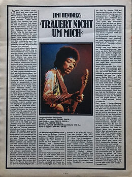 jimi hendrix magazines 1970 death/ musik boutique  october 1970