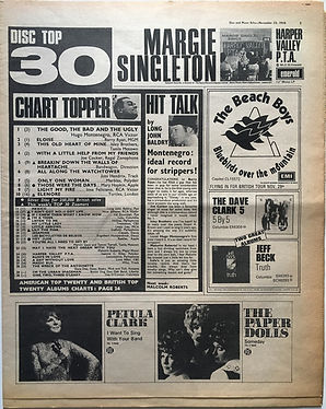 jimi hendrix newspaper 1968 / disc music echo 23/11/68