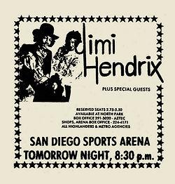 jimi hendrix newspaper 1969/ daily aztec may 23 1969 ad concert