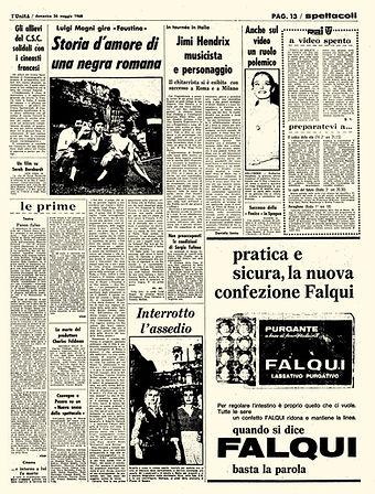 collector newspaper jimi hendrix 1968 / l'unita may 26, 1968