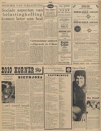 jimi hendrix newspapers 1967 / amigoe di curacao august 8, 1967