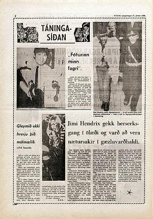 jimi hendrix newspaper 1968 /  visir 27/1/68