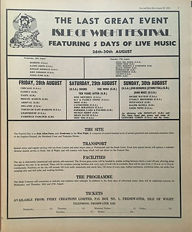 jimi hendrix newspaper 1970 /disc music echo  august 29, 1970 / top 30 albums /  ad : isle of wight festival